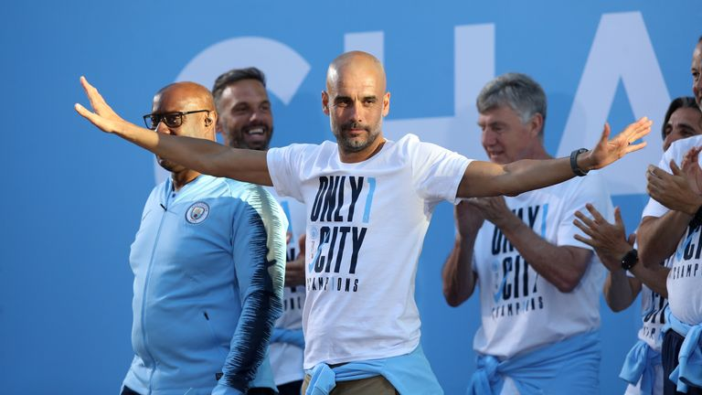Guardiola guided City to the Premier League title this season with a record points tally