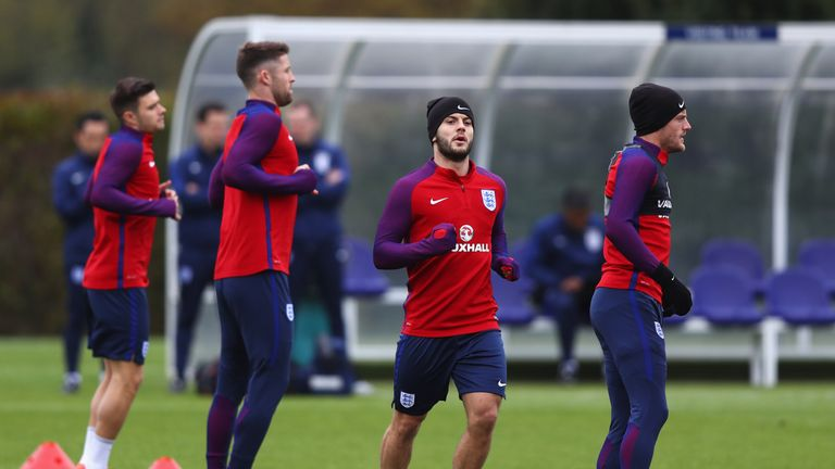 Jack Wilshere during an England training session on the eve of their match against Spain at Tottenham's Training Centre on November 14, 2016