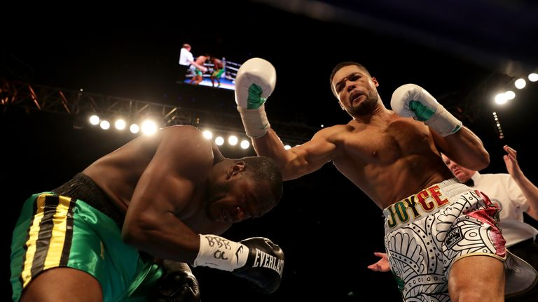 during the Commonwealth Heavyweight Title fight between Lenroy Thomas and Joe Joyce at The O2 Arena on May 5, 2018 in London, England.