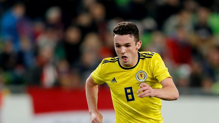 BUDAPEST, HUNGARY - MARCH 27: John McGinn #8 of Scotland in action during the International Friendly match between Hungary and Scotland at Groupama Arena on March 27, 2018 in Budapest, Hungary. (Photo by Laszlo Szirtesi/Getty Images)