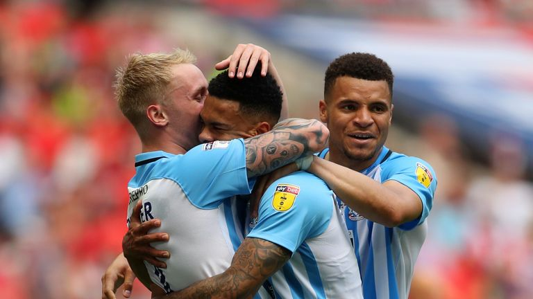 Jordan Willis celebrates Coventry's first goal