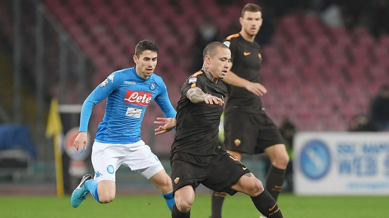 Jorginho and Radja Nainggolan during the serie A match between SSC Napoli and AS Roma - Serie A  at Stadio San Paolo on March 3, 2018 in Naples, Italy.