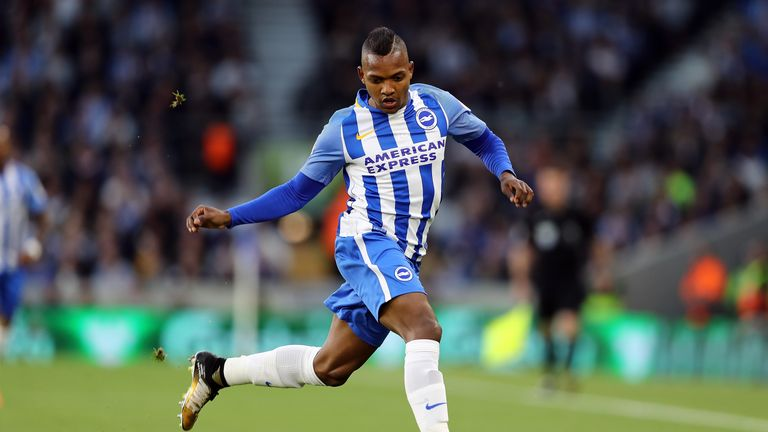 during the Premier League match between Brighton and Hove Albion and Manchester United at Amex Stadium on May 4, 2018 in Brighton, England.