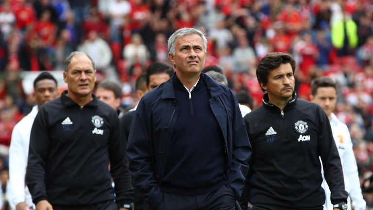 Jose Mourinho has had to fill the void left by long-term assistant Rui Faria (R), who left Manchester United at the end of the season
