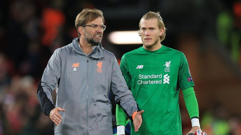 Liverpool manager Jurgen Klopp speaks to Liverpool goalkeeper Loris Karius after the UEFA Champions League, Semi Final First Leg match at Anfield, Liverpool. PRESS ASSOCIATION Photo. Picture date: Tuesday April 24, 2018. See PA story SOCCER Liverpool. Photo credit should read: Peter Byrne/PA Wire