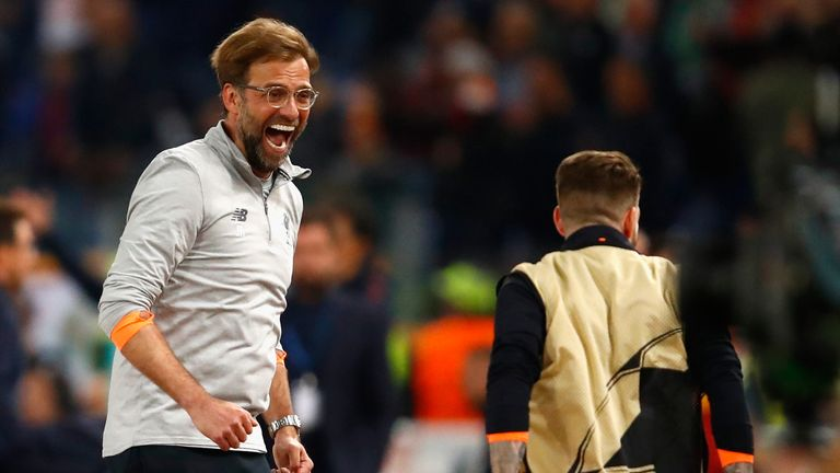 Jurgen Klopp during the UEFA Champions League Semi Final Second Leg match between A.S. Roma and Liverpool at Stadio Olimpico on May 2, 2018 in Rome, Italy.