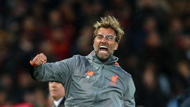 Jurgen Klopp celebrates Liverpool's first goal during the UEFA Champions League Semi-Final, First Leg against Roma at Anfield on April 24, 2018