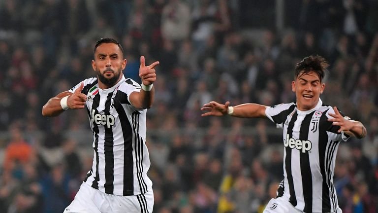 Medhi Benatia celebrates scoring in the Coppa Italia final