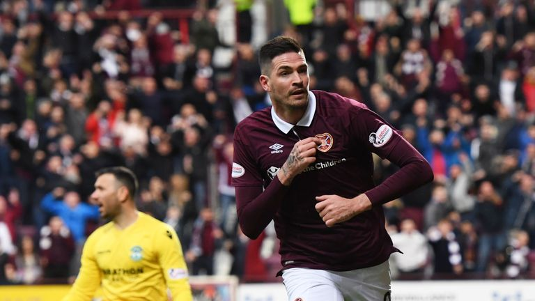 Kyle Lafferty opened the scoring for Hearts