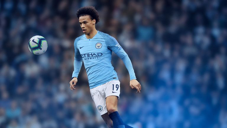 fdebcf299 Manchester City have stuck with the traditional City colours for their  2018 19 home shirt but dark blue speed blur stripes have been added along  the ...