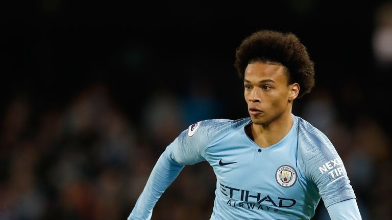Leroy Sane in action against Brighton and Hove Albion at the Etihad Stadium