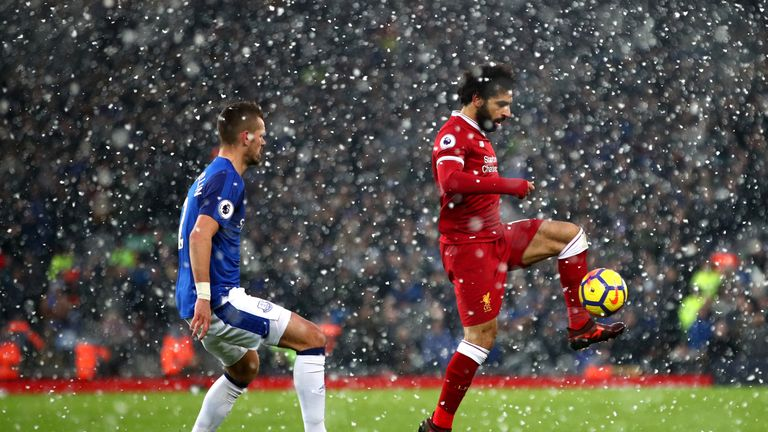 during the Premier League match between Liverpool and Everton at Anfield on December 10, 2017 in Liverpool, England.
