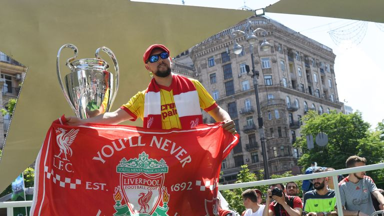 Liverpool fans have been arriving in Kiev ahead of the Champions League final
