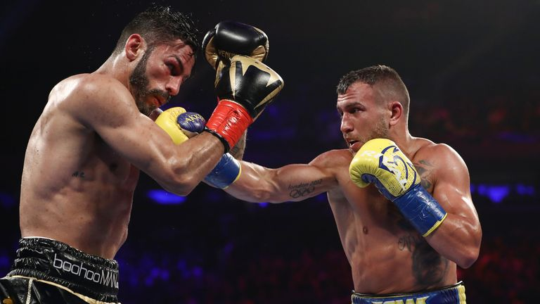 Vasiliy Lomachenko Jorge Linares during their WBA lightweight title fight at Madison Square Garden on May 12, 2018 in New York City.