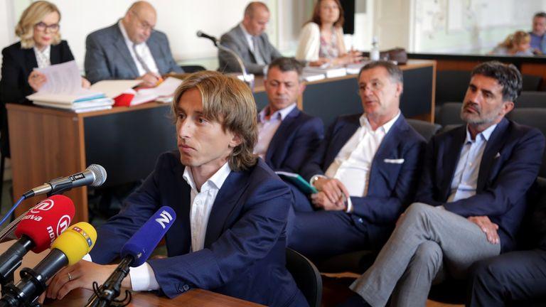 Luka Modric giving his testimony in Zdravko Mamic's corruption trial