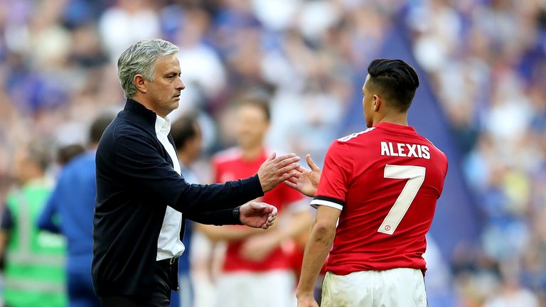 Manchester United manager Jose Mourinho consoles Alexis Sanchez after the FA Cup final defeat to Chelsea