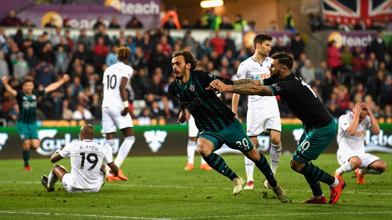 during the Premier League match between Swansea City and Southampton at Liberty Stadium on May 8, 2018 in Swansea, Wales.