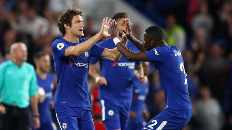 MArcos Alonso celebrates with Antonio Rudiger after equalising for Chelsea
