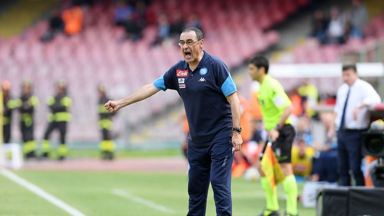 Maurizio Sarri during the serie A match between Napoli and Torino
