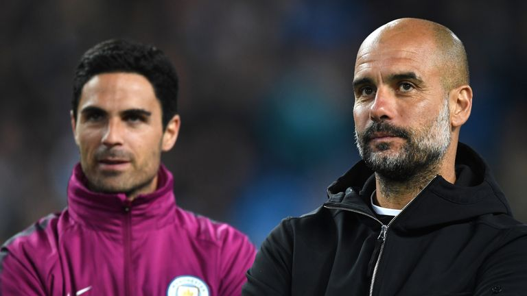 Arteta (left) was part of Pep Guardiola's coaching staff at Manchester City last season