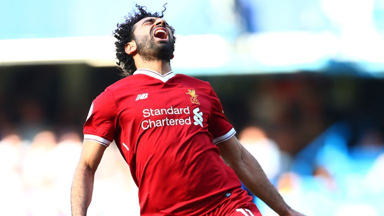 Mohamed Salah reacts during the match against Chelsea at Stamford Bridge