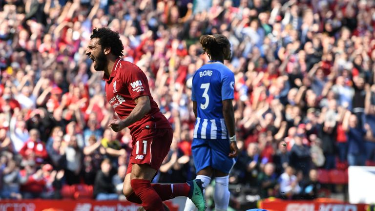 Mohamed Salah celebrates after giving Liverpool the lead