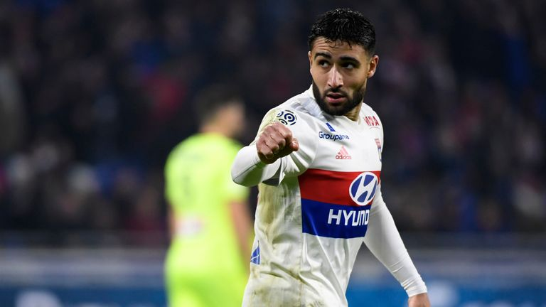 Nabil Fekir celebrates for Lyon