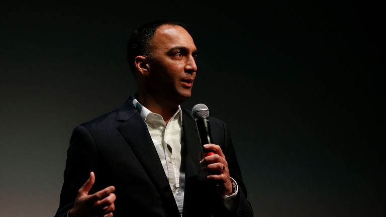 Paraag Marathe of the San Francisco 49ers addresses the audience during an ESPN leadership dinner at Levi's Stadium on May 22, 2018 in Santa Clara, California. (Photo by Lachlan Cunningham/Getty Images)