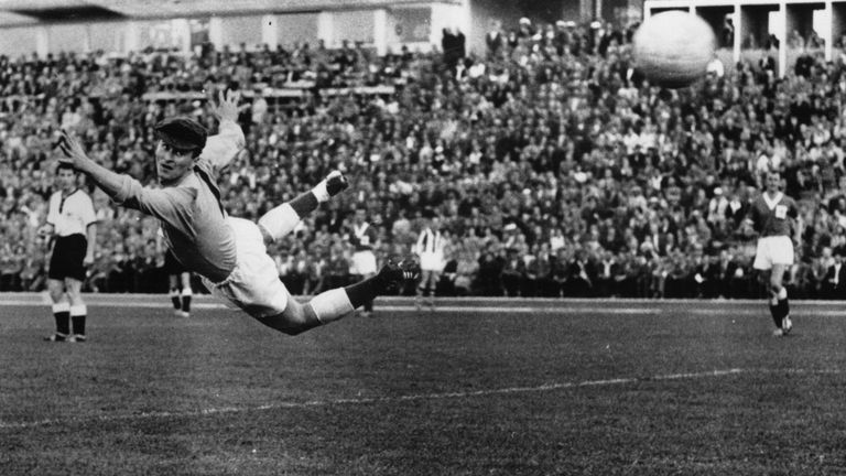 Northern Ireland keeper Harry Gregg fails to stop West Germany scoring in Malmo