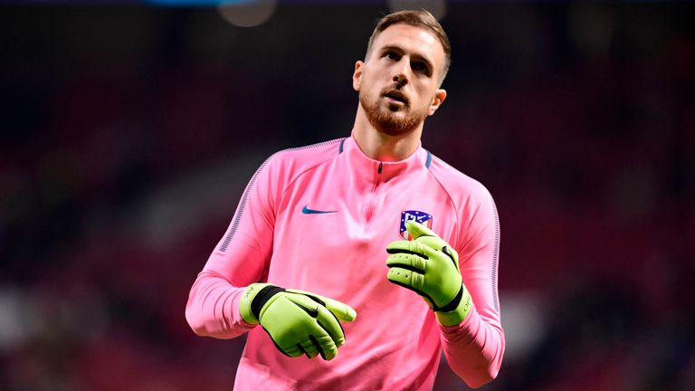 Atletico Madrid's Slovenian goalkeeper Jan Oblak warms up ahead of the UEFA Champions League group C football match between Atletico Madrid and AS Roma at the Wanda Metropolitan Stadium in Madrid on November 22, 2017