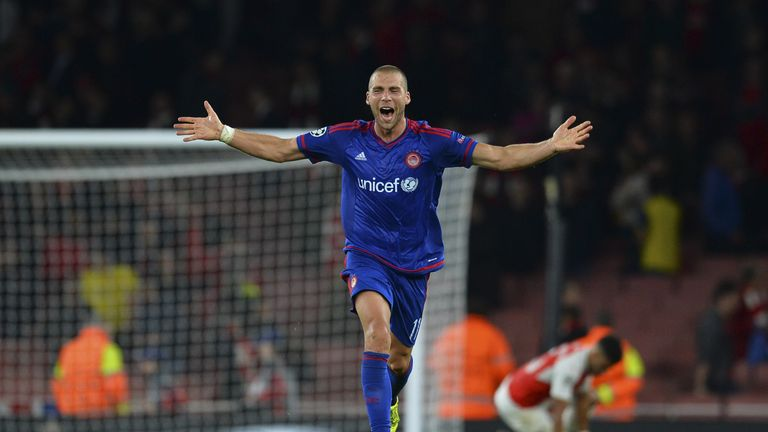 Pajtim Kasami celebrates after Olympiakos beat Arsenal 3-2 in the Champions League