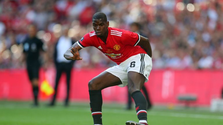 Paul Pogba playing for Manchester United in FA Cup final against Chelsea