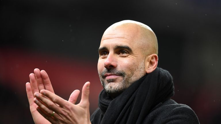 Pep Guardiola during the Premier League match between Stoke City and Manchester City at Bet365 Stadium on March 12, 2018 in Stoke on Trent, England.