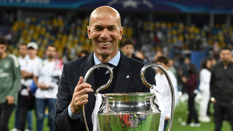 Real Madrid manager Zinedine Zidane with the Champions League trophy