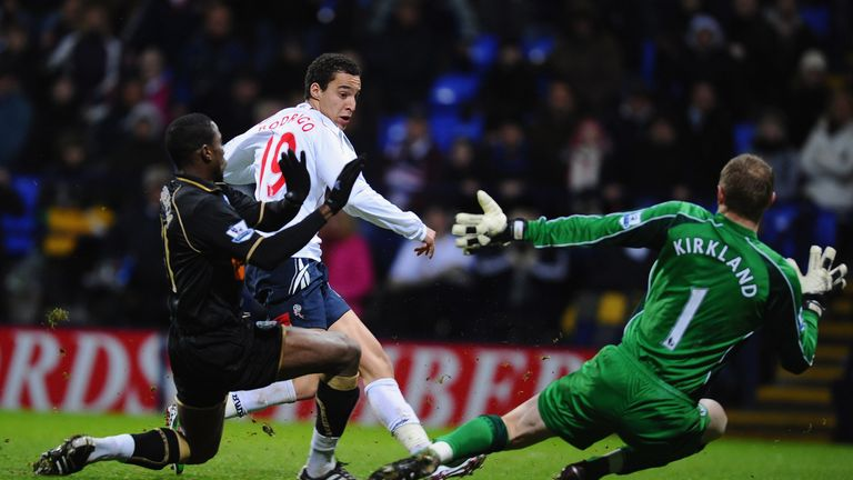 A young Rodrigo in action for Bolton against Wigan in January, 2011
