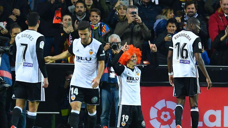 Rodrigo celebrates after scoring against Barcelona in November 2017