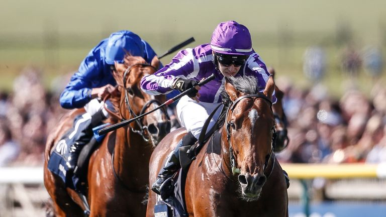 NEWMARKET, ENGLAND - MAY 05:  Donnacha O...Brien riding Saxon Warrior (R, purple) win The Qipco 2000 Guineas Stakes at Newmarket Racecourse on May 5, 2018 in Newmarket, United Kingdom. (Photo by Alan Crowhurst/Getty Images) *** Local Caption *** Donnacha O...Brien;Saxon Warrior