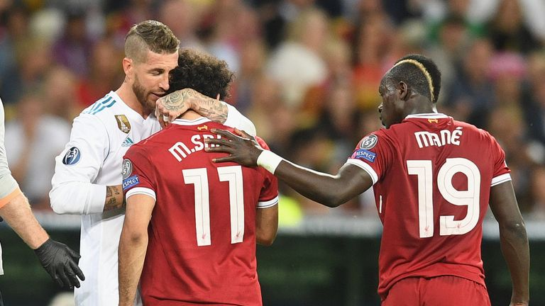 during the UEFA Champions League final between Real Madrid and Liverpool on May 26, 2018 in Kiev, Ukraine.