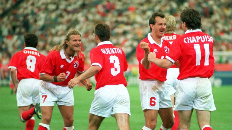 Switzerland beat Romania 4-1 at the 1994 World Cup to book at spot in the knockout rounds
