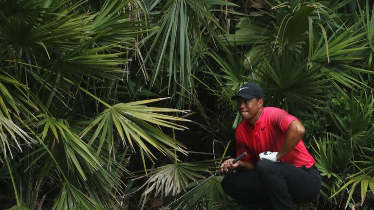 Woods survived an early scare after a wild drive at the second