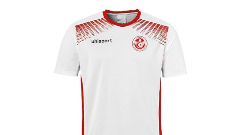Tunisia's home strip comes in white with red panels down the sides
