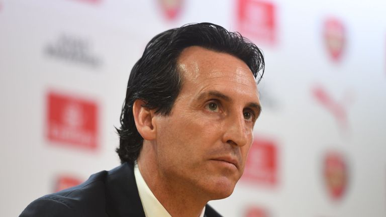 Unai Emery attends his first press conference as the new Head Coach of Arsenal at the Emirates Stadium on May 23, 2018