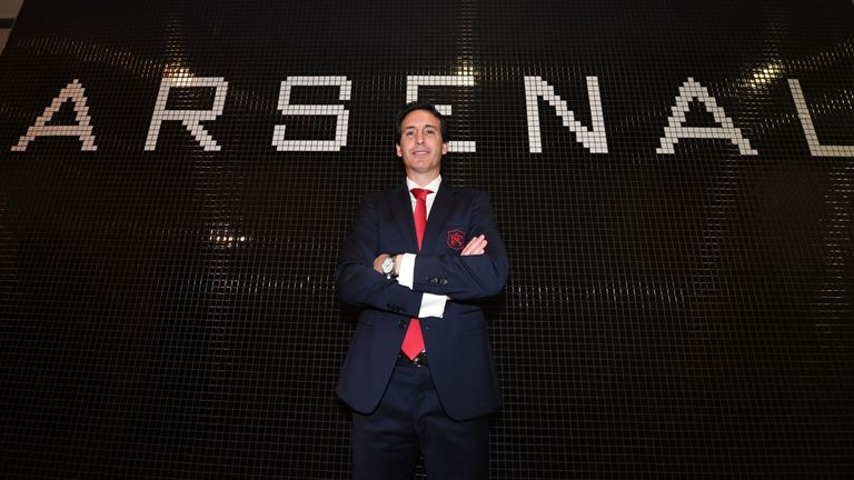 New Head Coach of Arsenal, Unai Emery poses for photographs at the Emirates Stadium on May 23, 2018