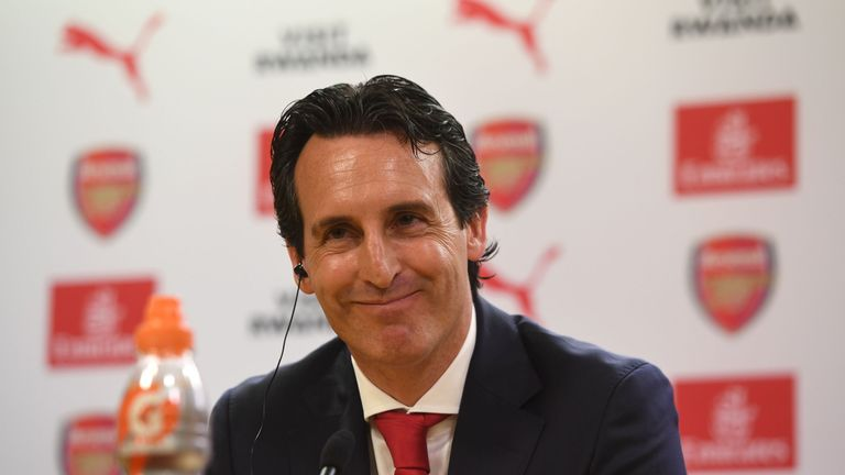 New Arsenal Head Coach Unai Emery during a press conference at the Emirates Stadium