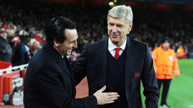 Arsene Wenger with Unai Emery before the UEFA Champions League match between Arsenal and Paris Saint-Germain at the Emirates Stadium on November 23, 2016