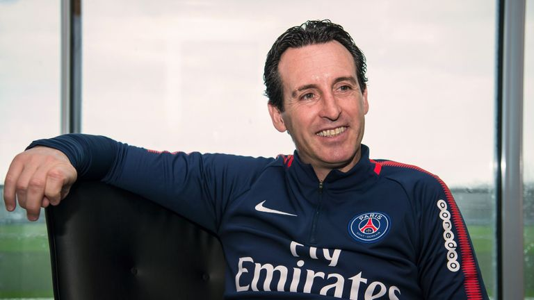 Unai Emery poses during a photo session in Saint-Germain-en-Laye, western Paris, on January 3, 2018