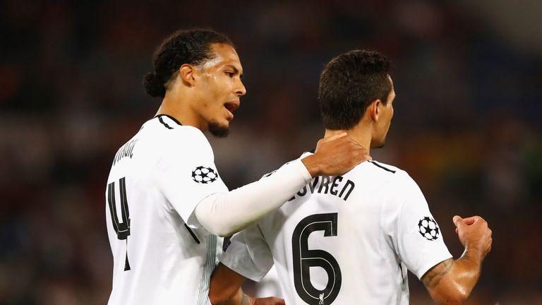 Virgil Van Dijk and Dejan Lovren played at the centre of Liverpool's defence