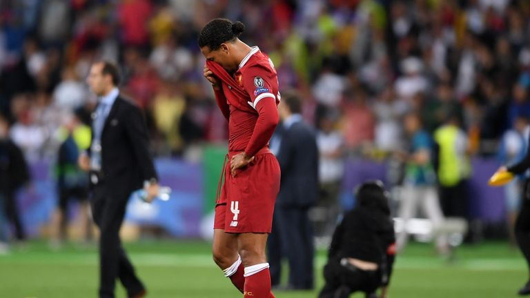 Virgil Van Dijk during the UEFA Champions League Final between Real Madrid and Liverpool at NSC Olimpiyskiy Stadium on May 26, 2018 in Kiev, Ukraine.