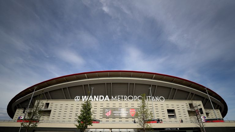 A view of the Wanda Metropolitano Stadium ahead of the Europa League semi-final, second leg between Atletico Madrid and Arsenal