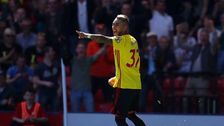 Roberto Pereyra opens the scoring for Watford against Newcastle